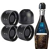 4 Piezas Tapón de Vino, Tapon de Botella de Vino Sellado de Silicona en Caja, Tapón ABS Plástico de Champán de Vino Tinto para Champán Espumoso Cerveza Champagne Stopper Familia Reunirse - Negro