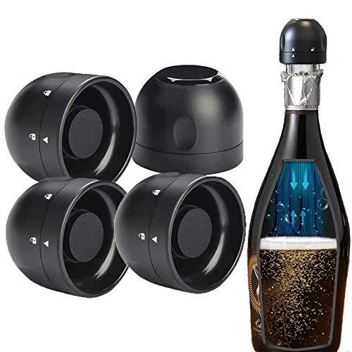 4 Pezzi Tappo per Vino, Tappo Champagne in Scatola, Tappo per Bottiglia di Vino Sigillato in Silicone, Plastica Stopper Champagne Tappi per Vino da Champagne per Birra, Spumanti, Vino Bianco - Nero