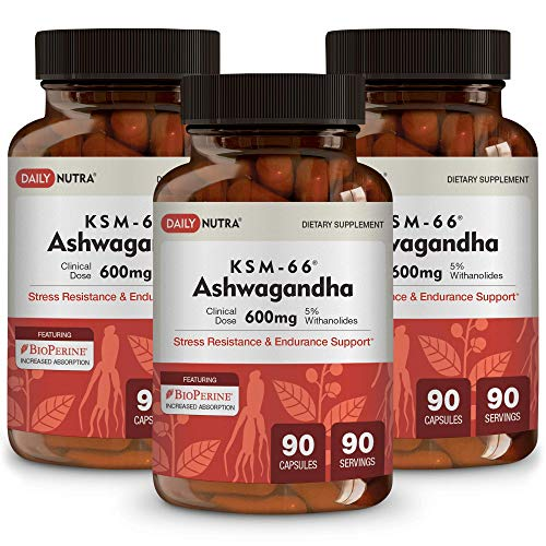 KSM-66 Ashwagandha by DailyNutra - 600mg Organic Root Extract - High Potency Supplement with 5% Withanolides | Stress Relief, Increased Energy and Focus (3-Pack)