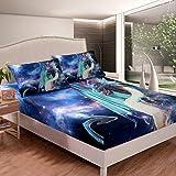 Juego de sábanas de dragón para niños y niñas, juego de cama con estampado de dinosaurios, juego de cama con 1 funda de almohada, 2 piezas, cama individual