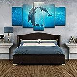 DBFHC Cuadros Modernos Impresión De Imagen Artística Digitalizada Besos De Animales Delfines Lienzo Decorativo para Salón O Dormitorio 5 Piezas XXL