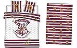 LesAccessoires Harry Potter Juego de ropa de cama, funda nórdica de 200 x 200 cm + 2 fundas de almohada + sábana bajera de 140 x 190 cm, 100% algodón