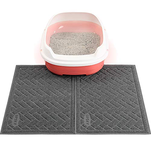UPSKY Cat Litter Mats 2 Set of Cat Litter Pads, Cat Litter Trap Mats Can Be Spliced and Placed At-Will, Scatter Control for Litter Box, Soft on Sensitive Kitty Paws, Easy to Clean. (24'' x 16'')