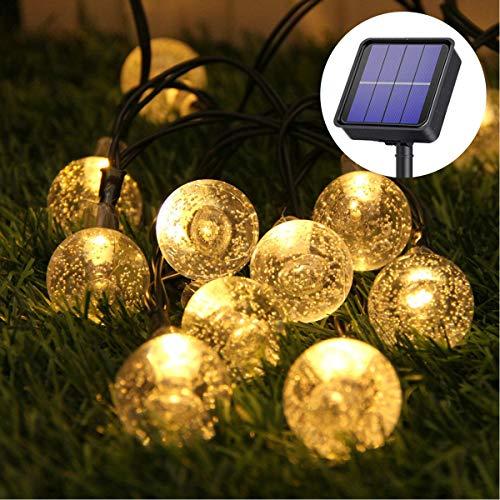50 LED Solar Lichterkette,9.5M Solar Garten Lichterkette Kristall Kugeln Garten Licht für Garten,Bäume, Schlafzimmer, Kinderzimmer, Hochzeiten, Partys, Innen und außen,8 Modi Warmweiß