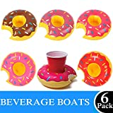 Brave Hours 6 Pack Drink Floats Cute Animal Pool Drink Holder Set Reusable Inflatable Float Cup Coasters for Summer Pool Party,6 Donuts.