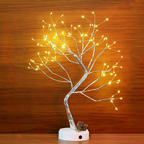 """LXun 20"""" Tabletop Bonsai Tree Light with Battery, USB Plug,108 LED Warm White Lights,Touch Switch,DIY Artificial Light Tree Lamp Decoration for Bedroom Living Room Home Gift Wedding Festival Holiday"""