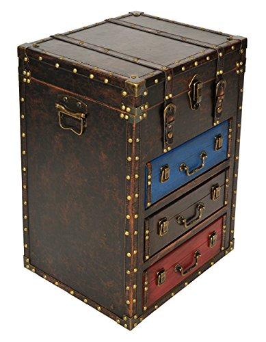 ts-ideen Cofre Cómoda con diseño de baúl en Cuerina Vintage Antiguo Remaches 3 Cajones