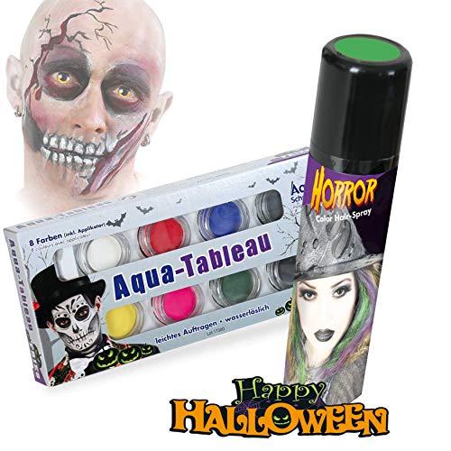 KarnevalsTeufel Halloween Schminkset Aquaschminkfarbe mit Zusatz nach Wahl Theaterschminke Spray (Schminkpalette & Spray Grün)
