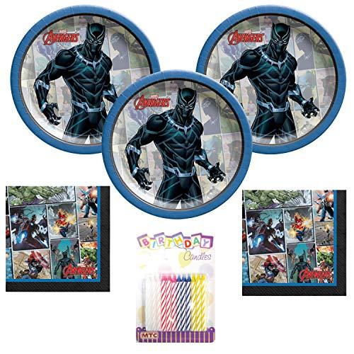 Marvel Powers Unite Black Panther Lot de 16 accessoires de fête pour 16 personnes avec assiette à dessert et serviettes de table avec bougies d'anniversaire