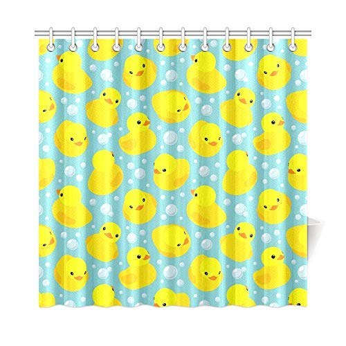 Presock Home Decor Bath Curtain Yellow Rubber Ducks Layout Polyester Fabric Waterproof Cortinas De Ducha for Bathroom, 72 X 72 Inch Cortinas De Duchas Hooks Included