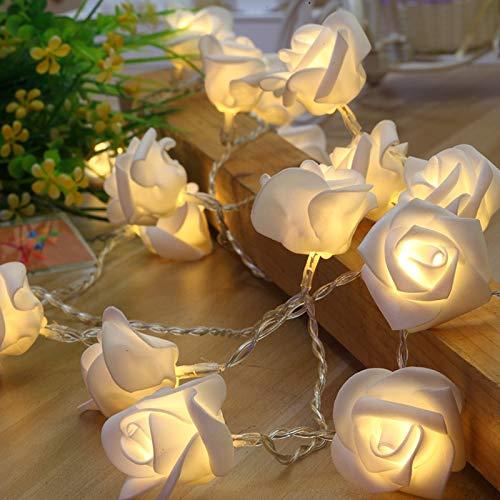 Guirnalda decorativa de 1,5 m, 10 m, 10 ledes, funciona con pilas, LED, rosas, para San Valentín, bodas, decoración de Navidad