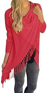iYBUIA New All Season Women Long Sleeve Tassel Hem Crew Neck Knited Cardigan Blouse Tops Shirt