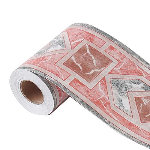 sourcing map Wandaufkleber Wandpapier Bordüre Selbstklebend Wandbelag PVC Boden für Küche Bad Schlafzimmer Wanddekor Coral Brown Quadratisches Muster