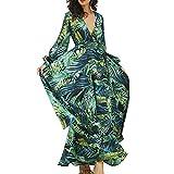 Vestido Mujer Largo Estampado Palmas Verde Vestido Maxi Verano Playa Vestido Casual, Elegante, Cover up, etc (Verde, XXXL)