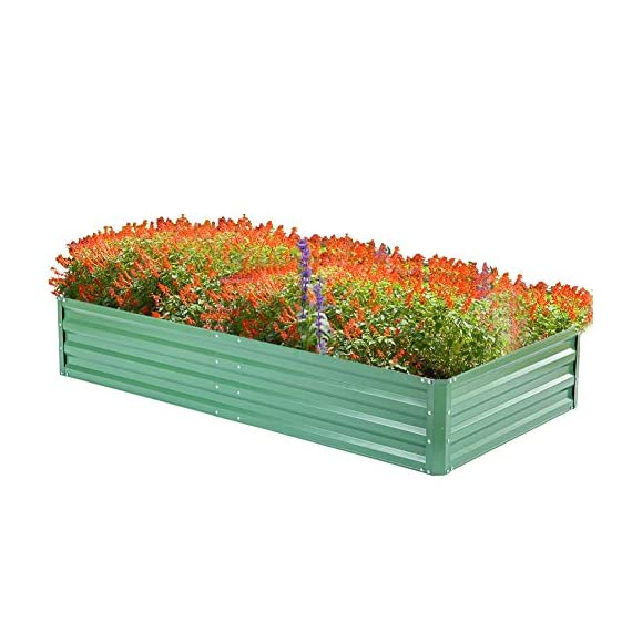 "zizin Metal Raised Garden Bed Outdoor Large Square Planter Box for Vegetables Flower Bed Kit, 68"" W x 35.4"" L 7 Size: 68.1""(L) x 35.4""(W) x 11.8""(H), provide sufficient space to grow vegetables, flowers or other plants Durable: made of galvanized metal, corner and frame are reinforced, more stable and durable, can be used for a long time Bottomless Frame: provide a good drainage effect, make the soil more permeable to protect the plant root, so the plants would grow better"