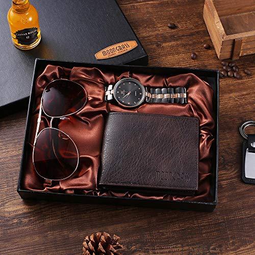 Powzz - Reloj de pulsera con gafas y reloj de cuarzo con esfera grande y cartera