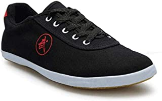 Taekwondo Shoes Martial Arts Sneaker Boxing Karate Kung Fu Tai Chi Shoes Black Stripes Sneakers Lightweight Shoes,Black-45