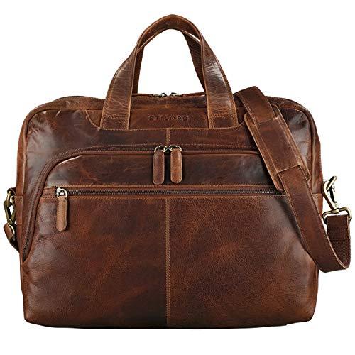 STILORD 'Lias' Umhängetasche Leder Herren Vintage 15,6 Zoll Businesstasche Laptoptasche groß Arbeit Büro Uni Antik Leder, Farbe:Kara - Cognac