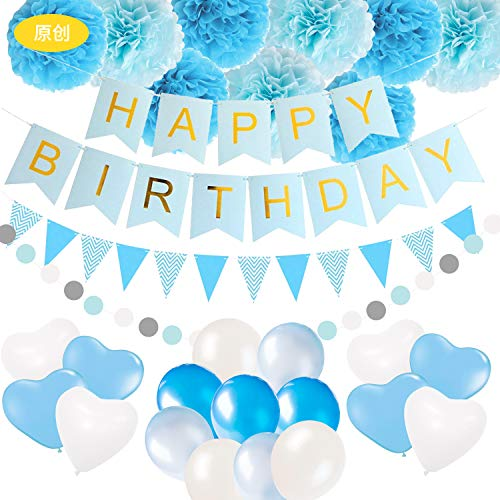 EEM Decoraciones y Suministros para Fiestas de cumpleaños, pancartas de Feliz cumpleaños, remolinos Colgantes, guirnaldas de Papel, Globos de Confeti de látex para Decoraciones de cumpleaños (Blue)