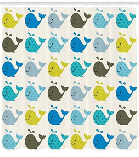 ABAKUHAUS Kindergarten Duschvorhang, Bunte Wale Tiere, Trendiger Druck Stoff mit 12 Ringen Farbfest Bakterie & Wasser Abweichent, 175 x 200 cm, Blau Kohle Grau Hellblau