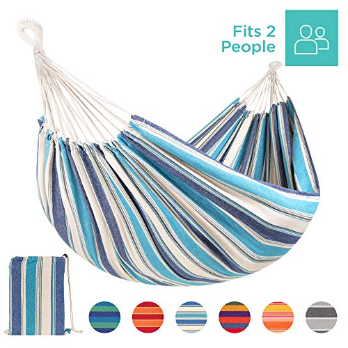 Best Choice Products 2-Person Brazilian-Style Cotton Double Hammock Bed w/Portable Carrying Bag Ocean