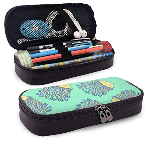 Lawenp Multifunktionspaket Kawaii Jellyfish Cartoon Medusa Wallpaper Leather 3D Nano Printed Pencil Case Pouch Zippered Cute Pen Pencil Case Box School Supply for Students,Big Capacity Stationery Bo