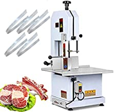 CGOLDENWALL 1600W Electric bone Sawing machine Commercial tabletop bone cutting machine Stainless Steel Meat chopping machine for cutting fish pig's hoof beef bone and frozen meat (110V)