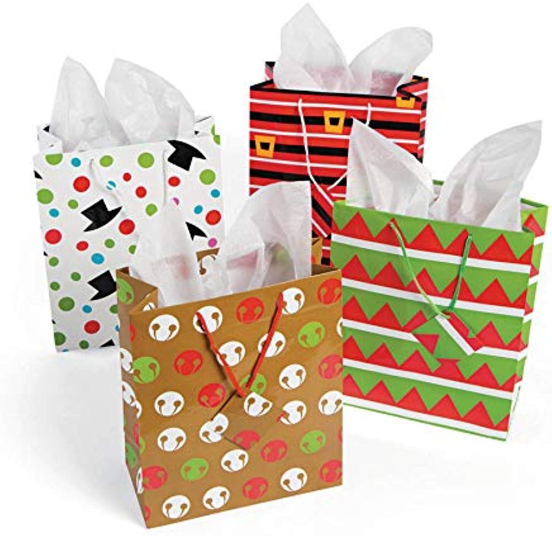 Fun Express 12 Medium Cheery Christmas Gift Bags Holiday Gift Wrap