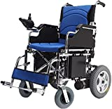 MENG Electric Wheelchair, Breathable Seat Cushion, Rear Anti-Rolling Wheel, Folding Lightweight and Automatic Wheelchair for The Disabled for The Elderly,Blue