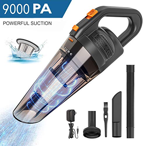 HONITURE Handheld Vacuum, Car Vacuum 9000Pa Strong Cyclonic Suction Portable Hand Vac Cordless Rechargable Li-ion Battery Dustbuster Lightweight Wet and Dry Vacuum Cleaner for Home and Car