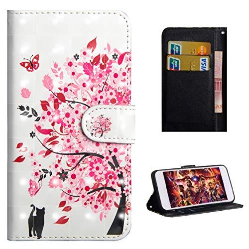 Für Xiaomi Pocophone F1/Poco F1 Hülle, Premium PU Leder Schutztasche Klappetui Brieftasche Handyhülle, Standfunktion Flip Wallet Case Cover - Eine Katze unter Einem Baum