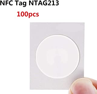 TimesKey NTAG213 NFC Stickers NFC Tags 25mm White Blank NFC Circular Sticker Writable and Programmable,144 Bytes Memory,Compatible with All Other NFC Enabled Devices,100 Pack, Round