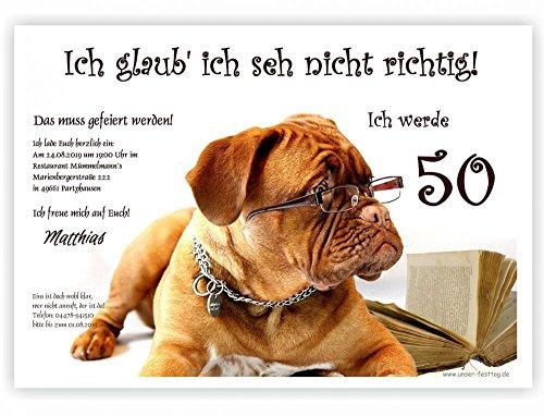 30 Geburtstagseinladungen runder Geburtstag lustig 50 60 70, für jedes Jahr möglich - mit Spruch, 17 x 12 cm