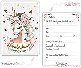 artpin® 10x Gold Einhorn EINLADUNGSKARTEN für Party Einschulung und Kindergeburtstag mit rosa Umschlägen - Geburtstagseinladungen, EINLADUNG für Mädchen zum Geburtstag - Sterne vergoldet P68 - 2
