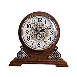 Jionshei Solid Wood Fireplace Clock Desk Clock Living Room and Office Decoration Digital Clock, Battery Powered Retro Clock (Color : Brown)
