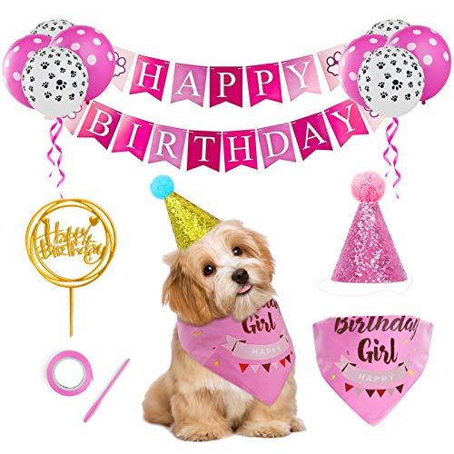 GeeRic Bandanas de cumpleaños para Perros, Lindos Globos de decoración de cumpleaños para Gatos/Perros + Sombrero + Bandana + Pancarta, Accesorios para Fiestas