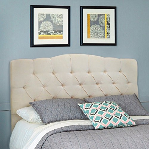 Barton Premium Upholstered Tufted Button Curved Shape Comfortable Fabric Headboard for Full/Queen Size (Beige)