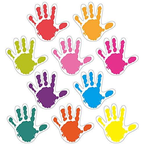 Handprints Colorful Cut-Outs Sticker, Classroom Décor, 50 Pcs Assorted Designs, Back-to-School Decoration for Bulletin Board/Black Board Trim, Teacher/Student Use for Classroom/School Decoration