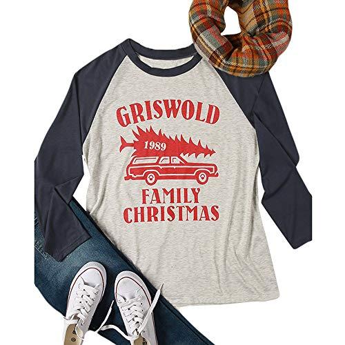 VEMOW Heißer Elegante Damen Frauen Große Größe Frohe Weihnachten Alphabet Druck Langarm Casual Täglich Freizeit Spleißen Top T-Shirt(Schwarz, 46 DE / 2XL CN)