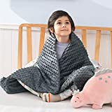 Bedsure Weighted Blanket for Kids with Removable Duvet Cover - Baby Throw Blanket 5lbs, Premium Cotton with Glass Beads 36'×48' Grey