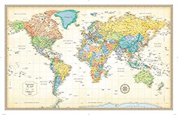 Classic Edition World Wall Map Paper Rolled