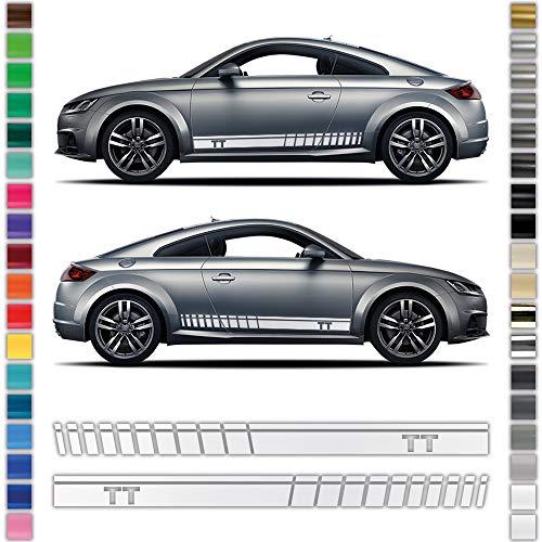 Auto-Dress® Seiten-Streifen Aufkleber Set/Dekor passend für Audi TT in Wunschfarbe (110 Black Gloss)