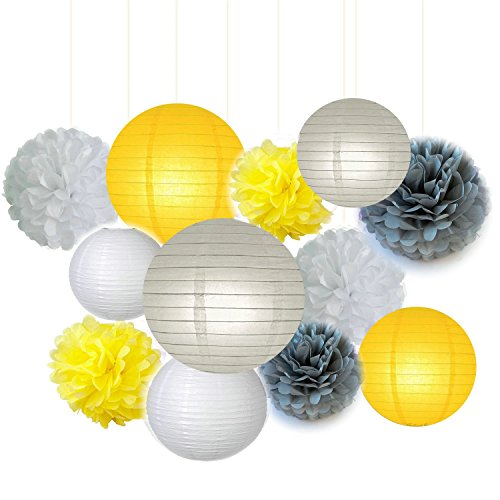 Fascola 12 pcs White Yellow Grey 10inch 8inch Tissue Paper Pom Pom Paper Lanterns Mixed Package for Lavender Themed Party Bridal Shower Decor Baby Shower Decoration