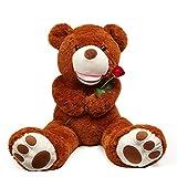 LApapaye 37 Inch Giant Teddy Bears Stuffed Animal Plush Toy with Footprints Life Size Big Bear,Dark Brown