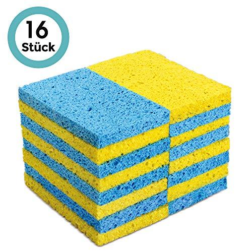 MASTERTOP 16 Stück Schwämme (121 x 76 x 12 mm) Spülschwamm & Reinigungsschwamm aus Zellulossaugfähig feine Poren für Küche, Bad, Auto, Gelb und Blau