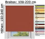 EFIXS Sichtschutzrollo Medium - 25 mm Welle - Farbe: Terracotta (5032) - Größe: 140 x 190 cm (Stoffbreite x Höhe) - lichtdurchlässig - Blickdicht