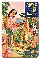 22cm x 30cmヴィンテージハワイアンティンサイン - リビーのハワイ - ルアウビーチパーティー - ビンテージな缶入りパイナップルジュースの広告 によって作成された ラファティ c.1957