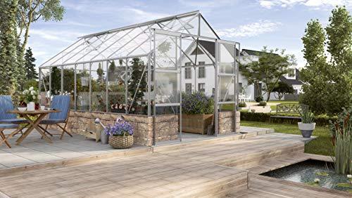 Gartenwelt Riegelsberger Gewächshaus Cassandra - Ausführung: 11500 ESG 3 mm Alu, Fläche: ca. 11,5 m², mit 4 Dachfenster, Sockel: 2,56 x 4,50 x 0,50 m