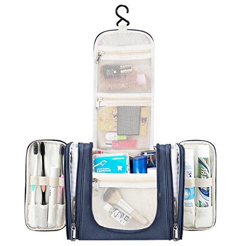 ZUOAO Organizzatore Borsa da Toilette con Gancio di Appendere, Cosmetici Borsa con Comparti Multipli, Borsa da Viaggio per Organizzare Articoli da Toilette per per Vacanze (L Blu)