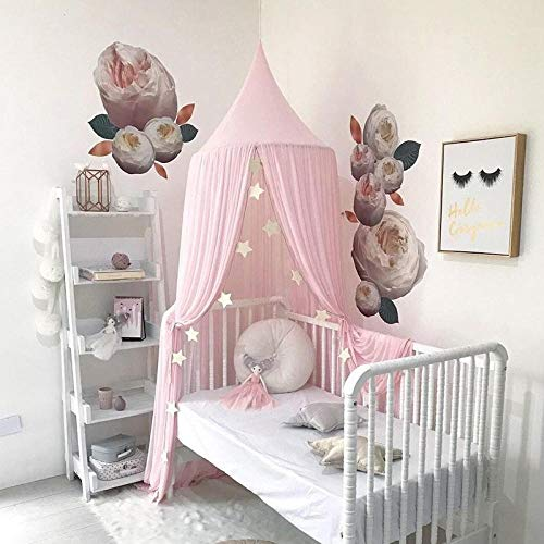 MMWW-functie Chiffon Klamboe Baby Kids Princess Bed Luifel Bedcover Anti-muggenspray Insectengordijn Beddengoed Dome Tent-roze